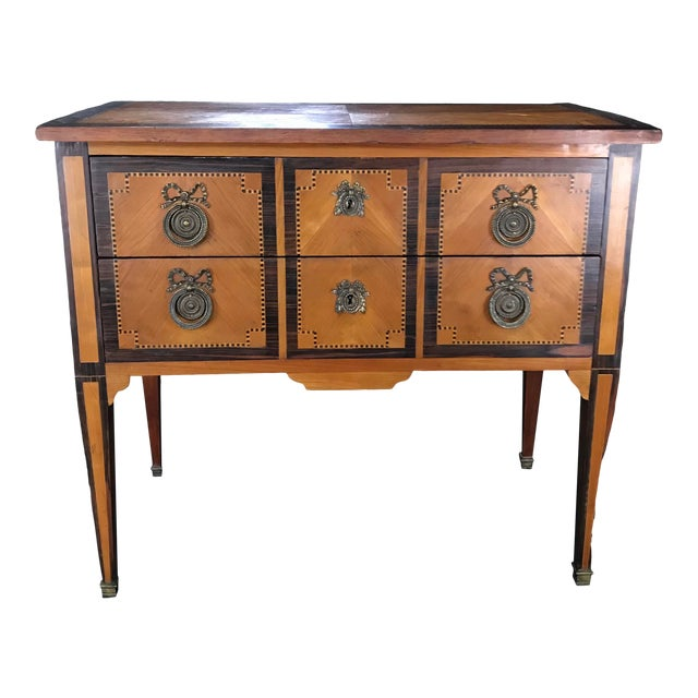 French Louis XVI Style Petite Marquetry Inlaid Two Drawer Commode For Sale