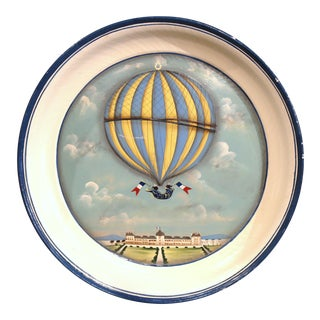 Late 20th Century French Hand-Painted Tole Tray With Colorful Hot Air Balloon
