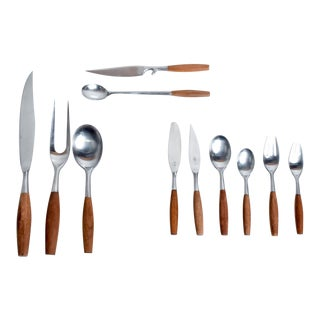 Mid Century Danish Modern Dansk Flatware Set 53 Pieces Teak Stainless Fjord Jens H Quistgaard For Sale