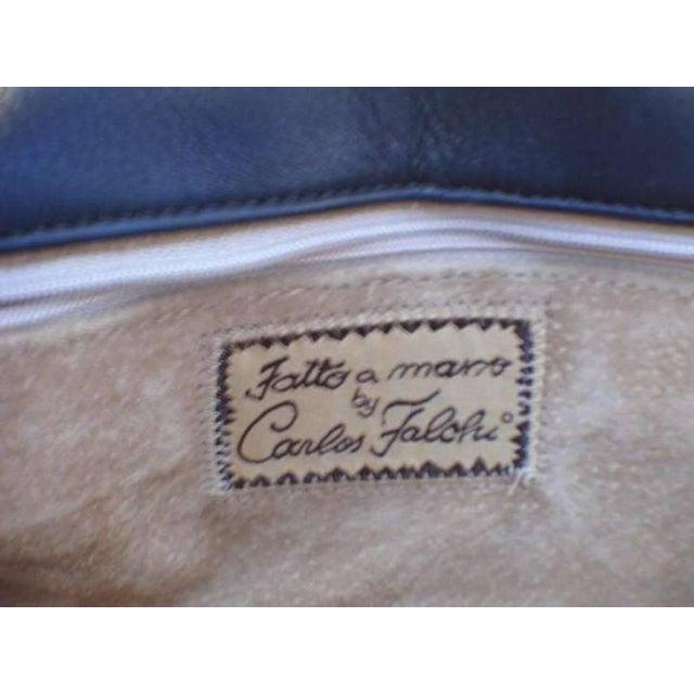 1990s Carlos Falchi Blue Crocodile Patchwork Clutch For Sale - Image 5 of 7