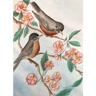 1980s Flowering Branches and Birds Signed Watercolor Painting For Sale