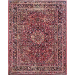 """Red Pasargad Home Antique Mashad Wool Area Rug- 10' 3"""" X 13' 2"""" For Sale"""