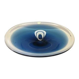 1970 Vintage Wedgwood Cobalt Blue Oval Glass Bowl Mid-Century Modern For Sale