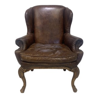 Vintage English Wingback Chair For Sale