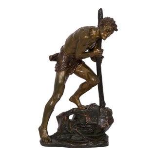 French Art Deco Antique Bronze Sculpture of Laborer by Edouard Drouot For Sale