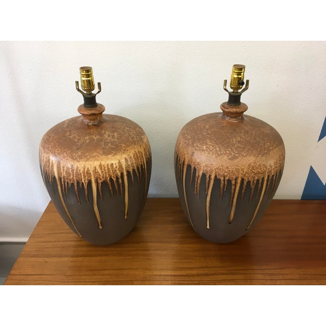 Mid-Century Modern Glazed Ceramic Lamps - A Pair - Image 2 of 6