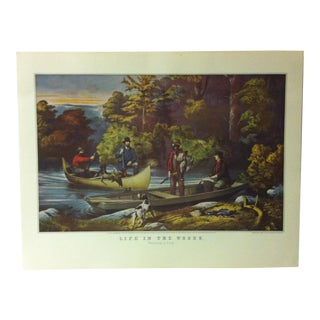 "Currier & Ives American Print, ""Life in the Woods"" by Crown Publishers, Circa 1950 For Sale"