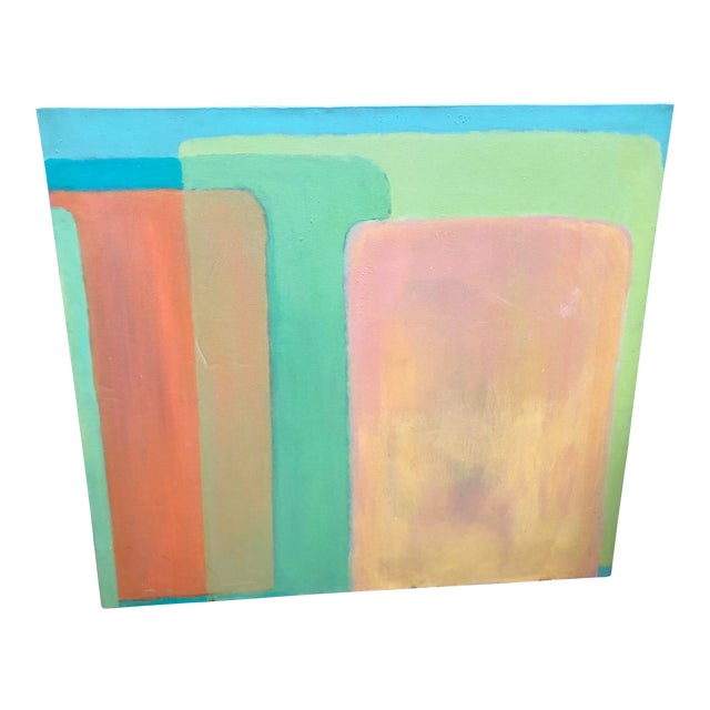 Large Vintage Mid Century Abstract Oil Painting on Canvas in the Style of Josef Albee's For Sale