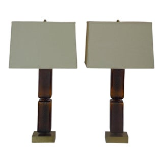 Reclaimed Amber Glass Block Table Lamps - a Pair For Sale