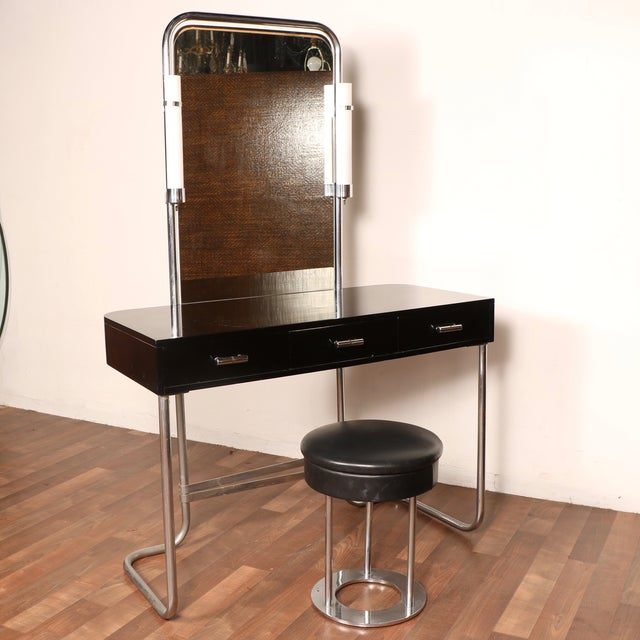 Art Deco Vanity with Stool - Image 3 of 11