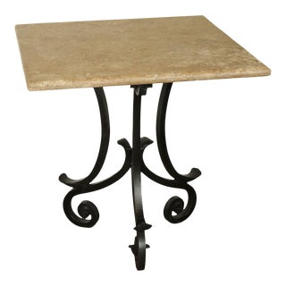 "Hand Forged Iron Base 42"" Pub Table Square Travertine Top For Sale"