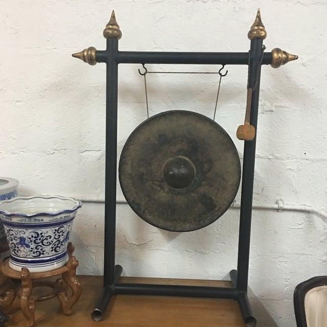 Vintage Chinese Bronze Gong Stand & Mallet - Image 9 of 10