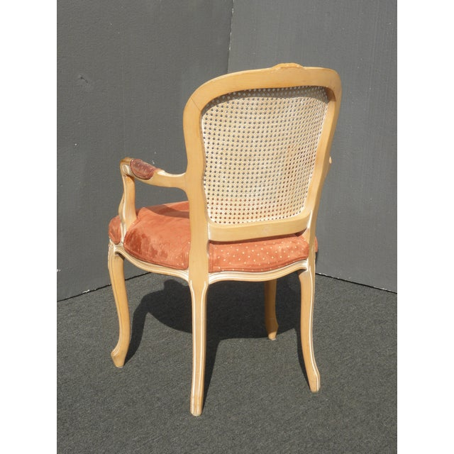 Vintage French Provincial Cane Back Off White Accent Chair W Peach Fabric For Sale - Image 9 of 11