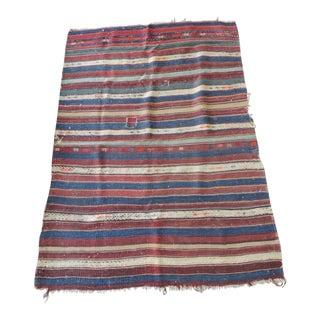 Vintage Red - Blue - White Stripe Woven Kilim Area Rug For Sale