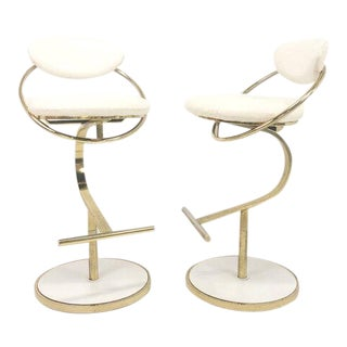 1970's Sculptural Brass and Leather Swivel Barstools - a Pair For Sale