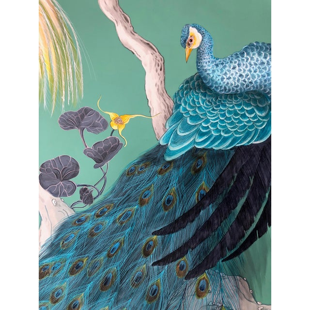 """""""The Arrival"""" is a dramatic composition of fanciful birds and a peacock done in a """"Modern Chinoiserie"""" style. The deep..."""