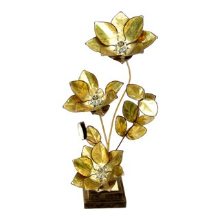 Maison Jansen French Mid-Century Modern 3 Light Cut Brass Flower Table Lamp For Sale