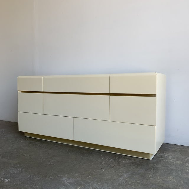 Lane Furniture 1980s Lacquer and Brass Dresser For Sale - Image 4 of 12