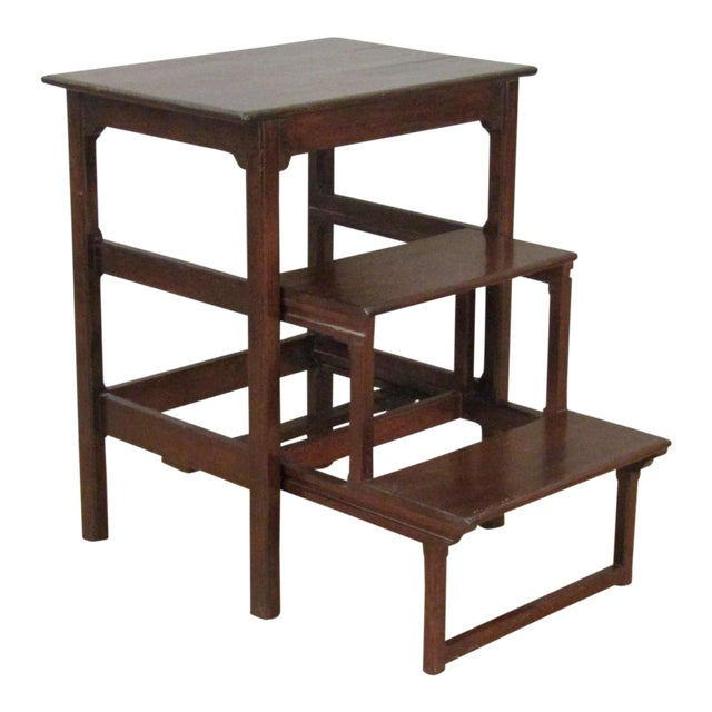 Chippendale Rose Tarlow Dark Walnut Table With Pullout Library Steps For Sale