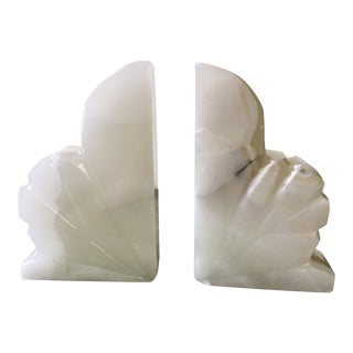 White Alabaster Leaf Bookends - a Pair