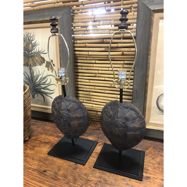 Mid-Century Modern Faux Turtle Shell Lamps- a Pair For Sale - Image 3 of 8