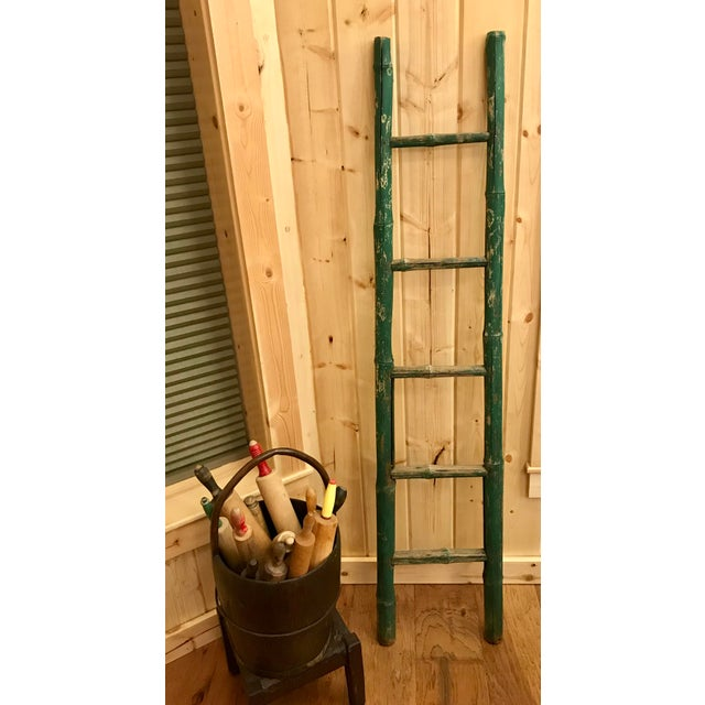 Green Vintage Green Chipped Paint Bamboo Ladder For Sale - Image 8 of 9
