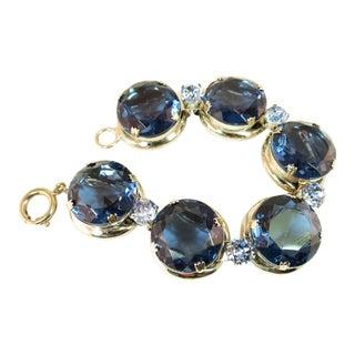 German Oversize Sapphire Headlamp Crystal Bracelet 1950s For Sale