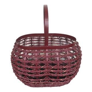 Vintage Metal & Rattan Basket For Sale