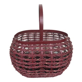 Vintage Metal and Rattan Woven Basket For Sale