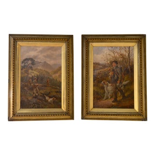 Late 19th Century Antique Hunt Paintings - A Pair For Sale