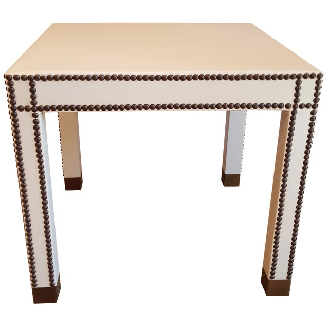 Vann Leather Side Table For Sale