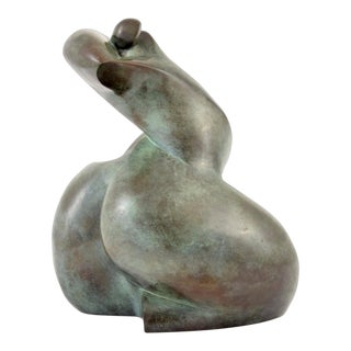 Vintage Mid-Century Dominique Polles Abstract Bronze Sculpture For Sale
