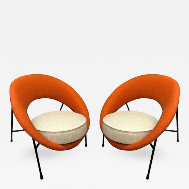 """Model """"Saturne"""" Rare Pair of Chairs by Genevieve Dangles and Christian Defrance."""