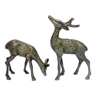 Vintage Brass Spotted Deer Figurines - a Pair For Sale