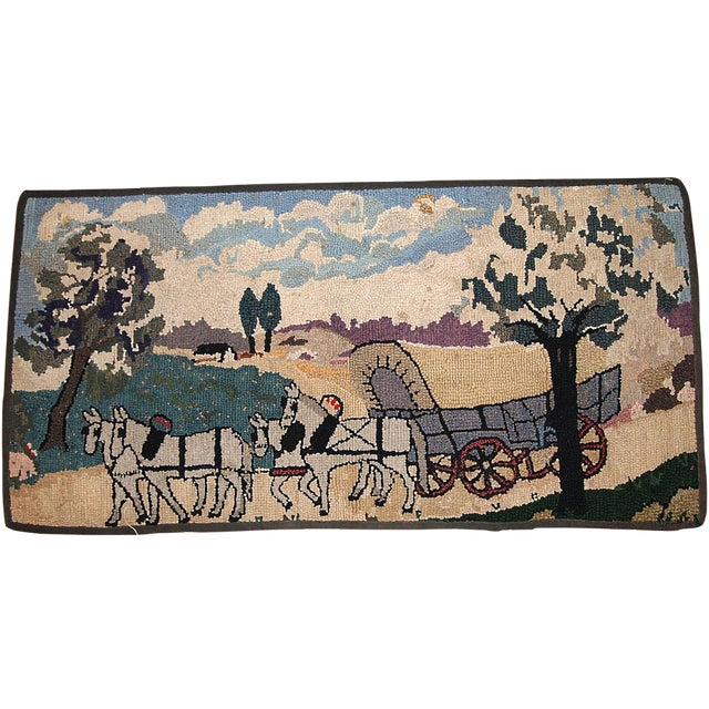 1880s Handmade Antique American Hooked Rug 1.10' X 3.9' For Sale