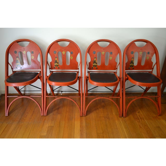 Louis Rastetter Red Folding Chairs- Set of 4 - Image 3 of 7