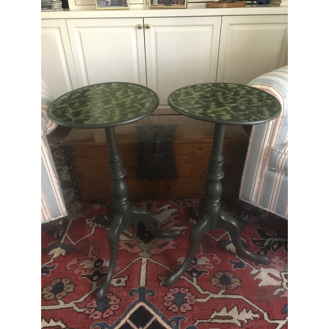 20th Century Regency Faux Tortoise Shell Top Side Tables - a Pair For Sale In New York - Image 6 of 7