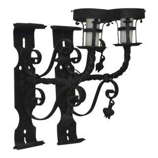 Early 20th Century Italian Wrought Iron Wall Sconces - a Pair For Sale