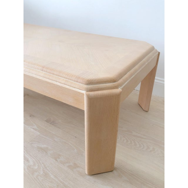 1980s Modern Tiered White-Washed Solid Wood Coffee Table For Sale In New York - Image 6 of 10