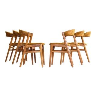 Set of Six Kai Kristiansen Style Dining Chairs Danish, Midcentury