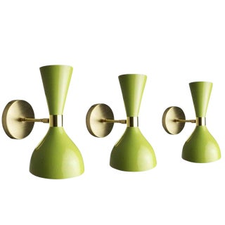 "Blueprint Lighting Italian Modern Bronze and Enamel ""Ludo"" Wall Sconces For Sale"