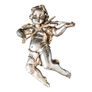 Antique Cherub Silver Leaf Wall Sculpture For Sale