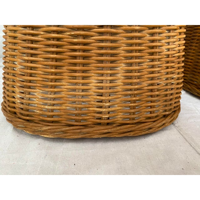 Vintage Woven Wicker Chairs With Braided Trim - a Pair For Sale - Image 10 of 13