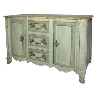 Mid-18th Century French Normandy Painted Faux Marble Top Buffet For Sale