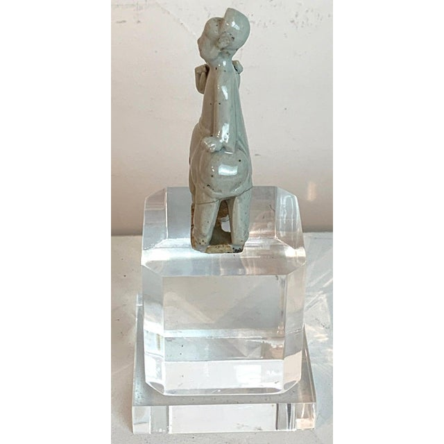 Asian Song Dynasty Chinese Celadon Porcelain Horse and Rider on Later Lucite Pedestal For Sale - Image 3 of 13