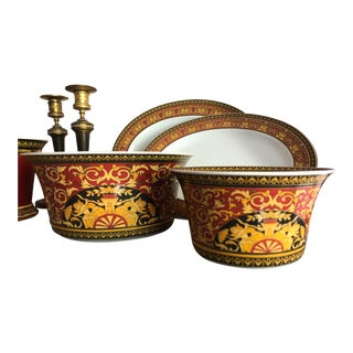 Rosenthal Versace Medusa Red Icarus Serving Bowls & Trays - Set of 4 For Sale