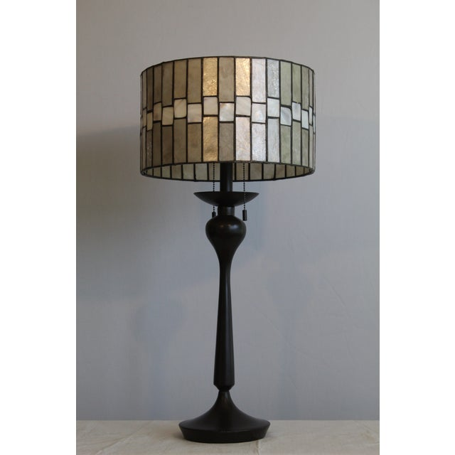 Black Mid Century Enameled Bronze Base With Geometric Art Deco Mica Shade For Sale - Image 8 of 8
