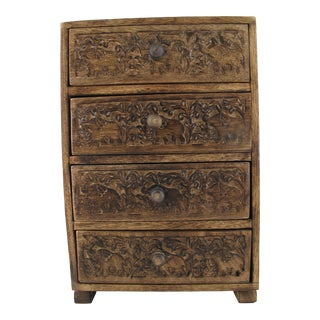Serrv Small 4-Drawer Carved Elephant Motif Trinket Chest For Sale