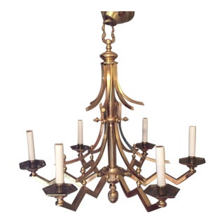 Frederick Cooper Chinoiserie Brass Six Light Chandelier For Sale
