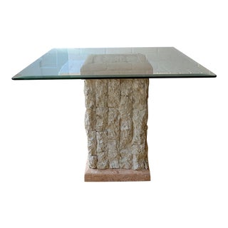 1980s Postmodern Tessellated Stone Side Table For Sale